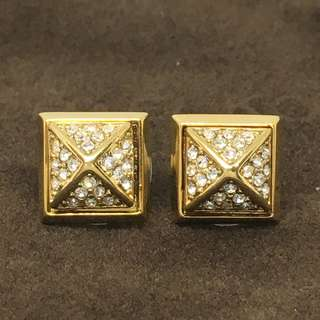 Michael Kors Sample Earrings 金色方形閃石耳環