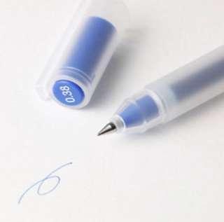 muji blue pens 0.38