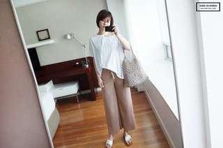 韓製-抽繩彈性寬褲