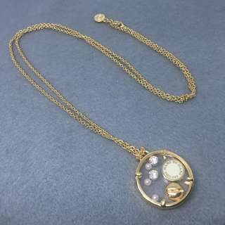 Marc Jacobs Sample Necklace 金色配白色logo閃石盒子頸鏈 全長78 cm