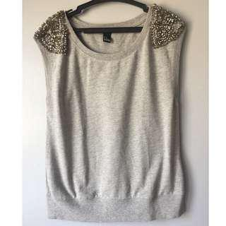 Forever 21 Gray Top with beads