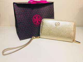 Tory Burch gold leather Wallet (16x 11cm)