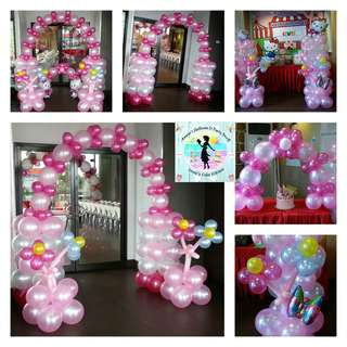Balloon Arrangement with Hello Kitty, Flowers, and Butterflies