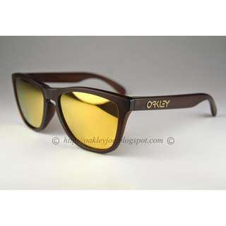a38d5272dc BNIB Oakley Frogskins Asian Fit matte rootbeer + 24k iridium oo9245-04  sunglass shades