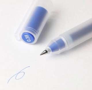 muji blue pen 0.38