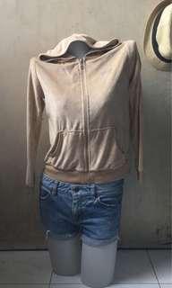 BCBG Light Brown Velveteen Hooded Jacket