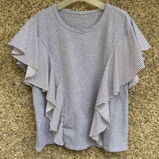 Gray Stripes Sleeves Top