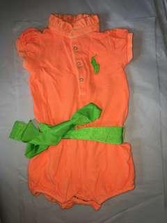 Ralph Lauren Neon Baby Girl Romper 6-12m
