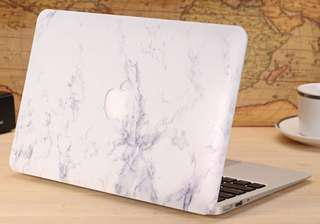 white marble macbook 13'' hard cover