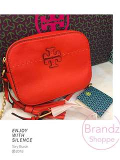 💥SALE! 💯% Tory Burch Poppy Red Square Crossbody Sling Bag @ Ready Stock! Only 1 Unit~