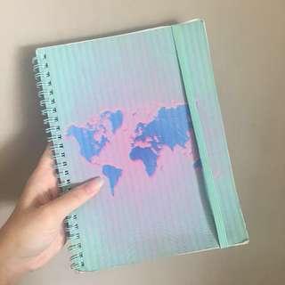 typo pastel map notebook