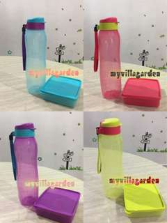 Tupperware 1L Eco Slim Bottle + 400ml large square away