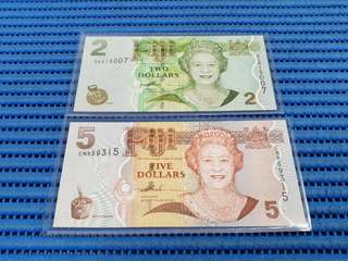 Fiji $2 & $5 (Two & Five Dollars) Banknote Currency DE 815007 & CN 859315 (Lot of 2 Pieces)