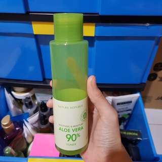 Nature republic aloe vera 90% toner 30 ml + botol aslo