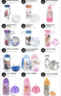 韓國小童水樽 水壺 水杯 廸士尼 公主 蜘蛛俠