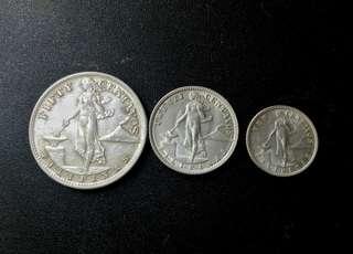 50 ,20 and 10 Centavos, 1945, Silver,UNC
