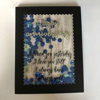 Anniversary shaker card blue sequin