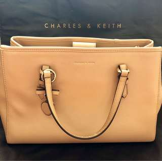 Charles & Keith Tote Bag with Bow Detail Charm in Beige
