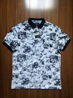 Blued Floral Polo Shirt in Navy Blue