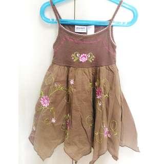 美國帶回衣標2T可穿到100公分 咖啡色全繡花洋裝