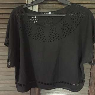 Forever 21 sheer cut-out top