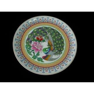 彩色孔雀牡丹大瓷碟12吋 珍藏/裝飾/風水