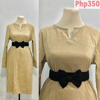 Vintage Dress - Suede nude Color