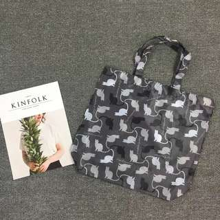 日本 北歐風 輕便薄款 黑貓環保袋 大容量購物袋 手提袋 收納袋