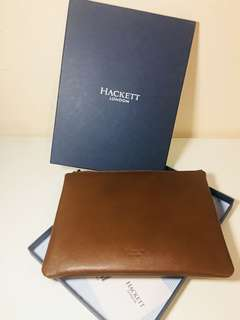 Hackett London brown leather clutch