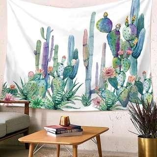 🚚 小預算佈置術仙人掌裝飾掛布壁畫直播背景微裝潢Decorative Cloth Hanging Cloth Mural