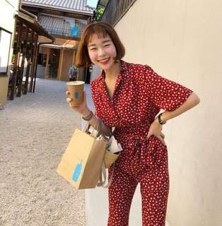 Minimei追加款✪韓系韓版百搭休閒 小清爽花朵襯衣領連體褲