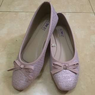 Glittery Baby Pink Flat Shoes