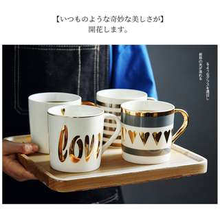 Golden love series coffee cup, 日系燙金愛心主題杯咖啡杯