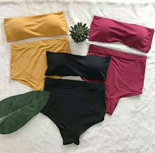 Two pice swimsuit avail in black, pink and red