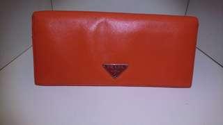 Praya Women's Saffiano Leather Orange Wallet