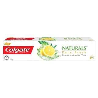 Colgate naturals pure fresh lemon & aloe vera toothpaste 120g. QYOP