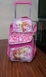 Frozen pink trolley school bag