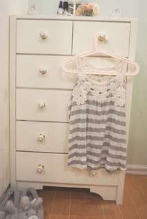 Forever 21 Striped Racerback Top withh Floral Lace Details