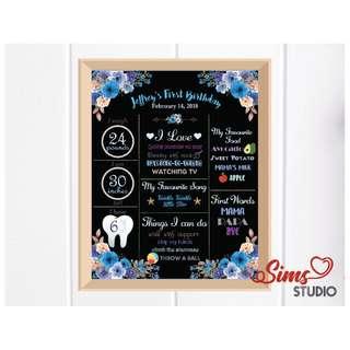 🚚 Blue Boho Birthday Black Chalkboard, Flower Theme Milestone Poster, Party Decoration, Blue Floral Milestone Board Sign, Baby Boy First Birthday