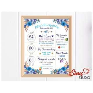 🚚 Blue Boho Birthday White Chalkboard, Flower Theme Milestone Poster, Party Decoration, Blue Floral Milestone Board Sign, Baby Boy First Birthday