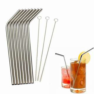 8 pcs Stainless Steel Straw