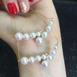 18k金日本Akoya海珠鑲鑽項鍊. Akoya 4-7mm 正圓無瑕. 鑽石0.03ct. 總長45cm. Akoya海珠粉嫩強光, 加上小鑽石配襯, 美得不得了.