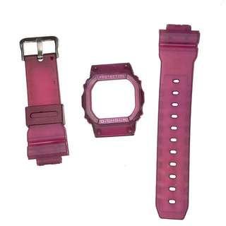 現貨 Casio G-shock DW-5600 wine red strap & case (not original Casio)