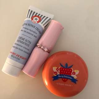 etude house lipstick and blusher + first aid beauty ultra repair cream
