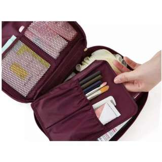 pouch make up travel maroon
