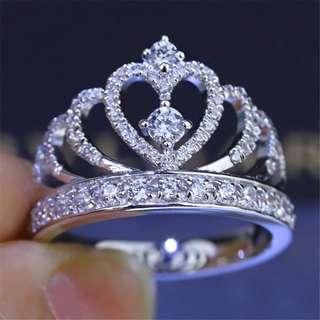 BN Crown White Sapphire Birthstone 925 Silver Fashion  Ring (Sz 6-10) [MJN35]