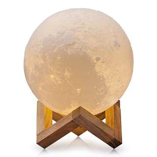 Home Decor 3D LED Printing Moon Lamp - Warm & Cool White W Touch Control Brightness - USB Charging