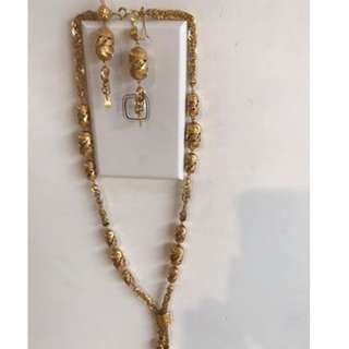 21k Gold Set earrings and necklace 60grams