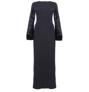 Poplook OCCASION Austin Sequinned Cape Sleeve Dress in Navy