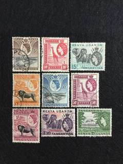 1954 Kenya Uganda Tanganyika QE2 Definitives 9V Used Short Set